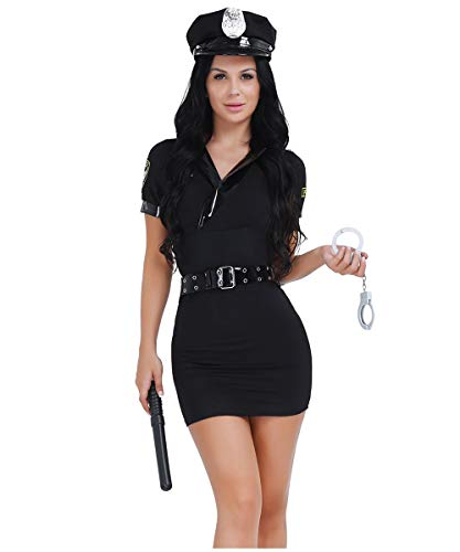 Freebily Sexy Women Police Costume Cosplay Officer Outfit Set Halloween Fancy Dress +Handcuffs + Hat Black One Size]()