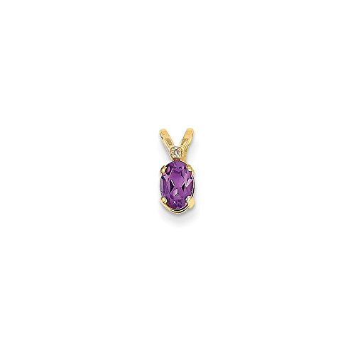 Solid 14k Yellow Gold Diamond & Simulated Amethyst Simulated Birthstone Pendant (4.5mm x 12mm)