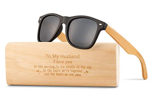 Personalized Wooden Sunglasses for Son and Husband,Engraved Wood Polarized Sunglasses Gift for Son, Graduation Gift from Mom, from Dad (A-For -