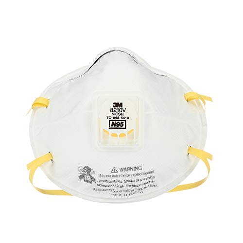 3M 8210V Particulate Respirator with Cool Flow Valve, Grinding, Sanding, Sawing, Sweeping, Woodworking, Dust, 10/Box