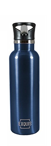 EXQUIS double Wall Vacuum Insulated Stainless Steel Sports Bottle with Screw On Lid & Flip Straw, 17oz, Navy