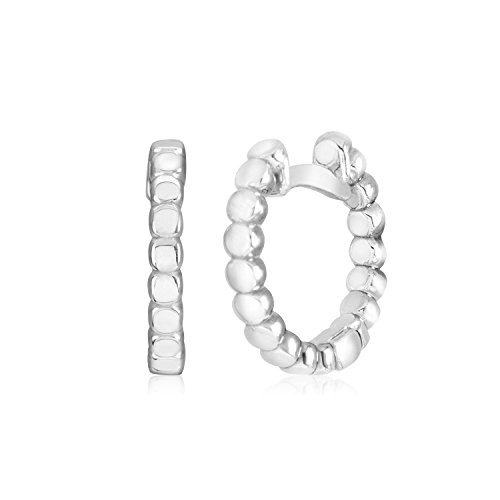 - UNICORNJ 14K White Gold Polished Square Beaded Design Small Huggie Hoop Earrings Italy