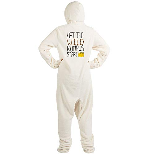 CafePress Wild Rumpus' Novelty Footed Pajamas, Funny Adult One-Piece PJ Sleepwear Creme