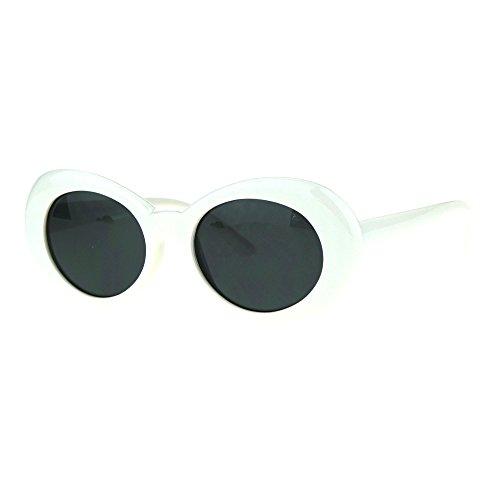 Black And White Vintage Cat Eyes Glasses (Womens White Plastic Gothic Vintage Cat Eye Mod Color Lens Sunglasses Black)