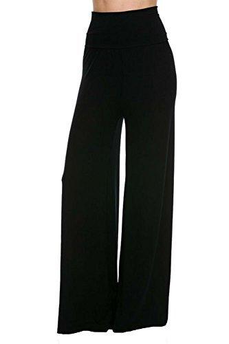 Wide Leg Palazzo Pants - Superline Wide Leg High Fold Over Waist Palazzo Pants (X-Large, Black Solid)