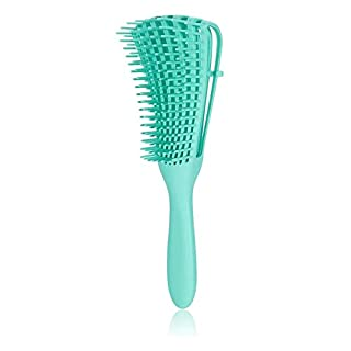 Valmirja Detangling Brush for Curly Hair, ez Detangler Brush Hair Detangler, Afro Textured 3a to 4c Kinky Wavy/Curly/Coily/Wet/Dry/Oil/Thick/Long Hair, Exfoliating for Beautiful and Shiny Curls,Green