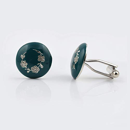- Handcrafted Green Enamel Gold Leaf Cufflinks with Brass - 22ct Yellow Gold Rhodium Plated