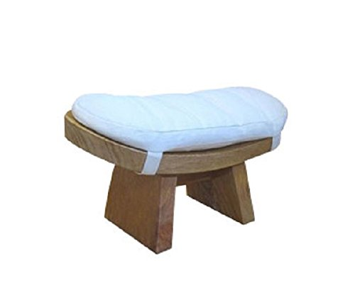 Zenmaster Meditation Bench with Cushion - Natural with White - Cushion Curved Bench