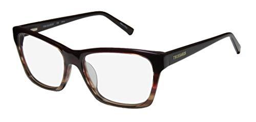 Trussardi 12510 Mens/Womens Designer Full-Rim Flexible Hinges Popular Shape Stylish Upscale Eyeglasses/Eye Glasses (54-16-135, Gradient Dark Cherry)