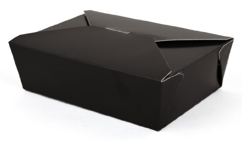 "Southern Champion Tray 0783 #3 ChampPak Retro Take-Out Container, Black Paperboard with Poly Coated Inside, 7-3/4"" L x 5-1/2"" W x 2-1/2"" H (Pack of 200)"
