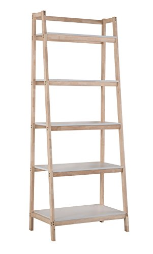 Wesome Scandinavia Wood 5-Tier Shelf Rack Leaning Bookcase Ladder Storage/Display Shelf for Home Decor by WESOME