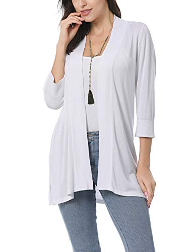 (Spicy Sandia Open Front Knit Cardigans for Women Lightweight Cover-up Long Sleeve Cardigan Sweaters, White-3/4 Sleeve, Large)