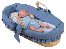 Baby Doll Bedding Denim Moses Basket, Blue