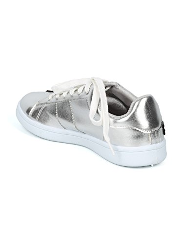 Lace Patch Women Alrisco Up Silver Top HF82 Metallic Embroidered Floral Low Sneaker 5Ax11dwXq