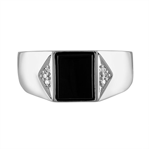 Cut Black Onyx Ring In Sterling Silver - Size 9 ()