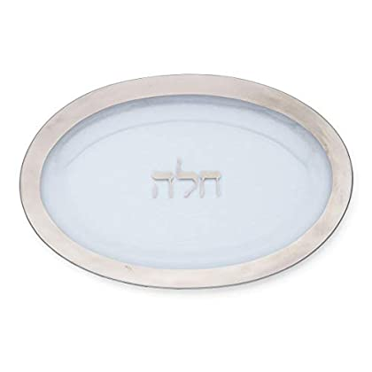 Image of Challah Platter w/ Platinum Rim - Annieglass Judaica Collection Platters