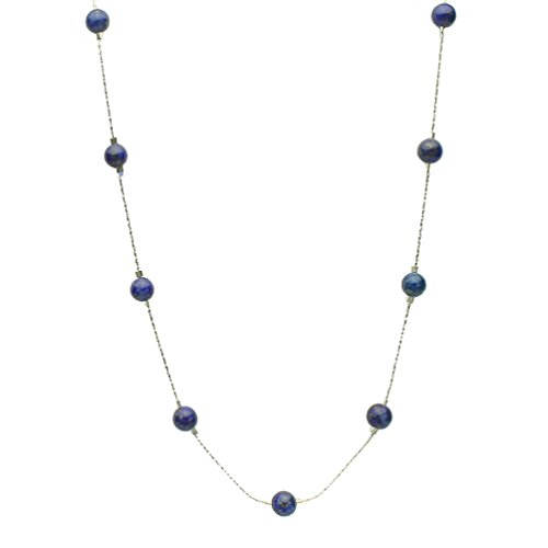 Blue Lapis Stone Beads Station Illusion Sterling Silver Chain Necklace, - Illusion Necklace Bead