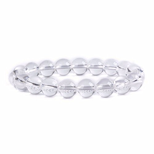 Clear Bead Bracelet - Natural Clear Quartz Gemstone 10mm Round