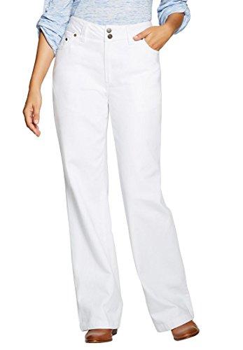 Women's Plus Size Wide Leg 100 Cotton Jean White,18