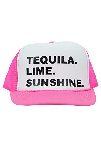 Zynotti Tequila.Lime.Sunshine. Neon Pink Trucker Hat with an Adjustable Snapback Closure-Spring Break Hat