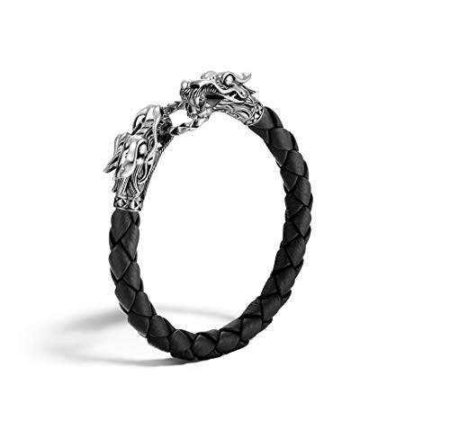 John Hardy MEN's Legends Naga Silver Dragon Bracelet on Black Woven Leather 8mm, Size M - BM65089BLXM (Dragon John Hardy Naga)