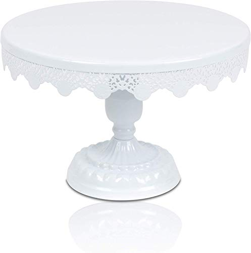 Scott's Bakery Antique Round Metal Cake Stand | Cupcake Display/Holder with Beautiful Design | Perfect for Weddings, Tea Parties, Birthday Parties and Celebrations | 10 Inch White |