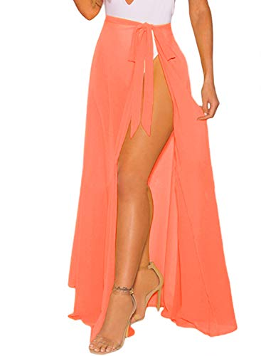 OmicGot Women's Cover Up Swimsuit Beach Wrap Maxi Skirt Coral - Suit Coral Skirt