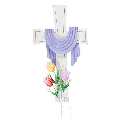 "Metal Easter Cross with Purple Lenten Scarf, Garden Décor Stake - 15"" Wide x 28"" High"