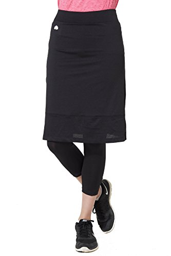 Modesty Athleisure 24'' Running Skirt w/ Attached Leggings - Black, 1X
