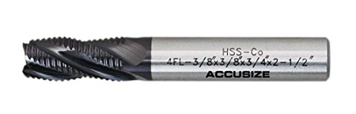 Accusize Industrial Tools Fine Tooth M42 8% Cobalt TiALN Roughing End Mill, 3/8 Diameter, 3/8 Shank Diameter, 3/4 Flt Length, 1104-0038