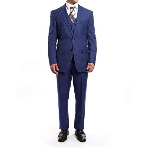 Mens Blue Pinstripe 3 Piece 2 Button Classic Fit Suit New with Matching Vest(50R/44Waist Regular)