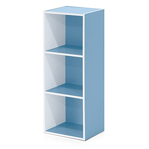 Furinno 3-Tier Open Shelf Bookcase, White/Light Blue 11003WH/LBL
