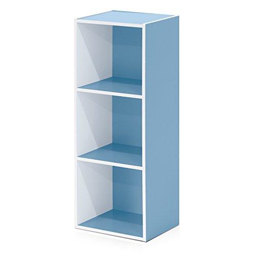 Furinno 3-Tier Open Shelf Bookcase, White/Light Blue 11003WH