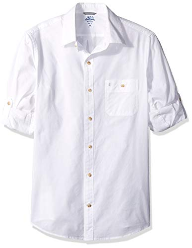 IZOD Men's Slim Fit Saltwater Dockside Chambray Long Sleeve Button Down Solid Shirt, Bright White, X-Large ()