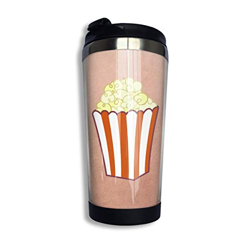 Coffee Travel Mug Popcorn Accompanying Bottle Starbucks Mug Iced Tea Or Water Insulated Thermal Cup Stainless Steel for Hiking, Camping & Working ()