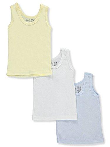 bambini Baby Boys' 3-Pack Sleeveless T-Shirts - White/Light Blue, 6-12 Months (Top Bambini Tank)