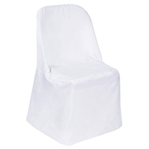 (BalsaCircle 100 pcs White Polyester Folding Chair Covers Linens for Wedding Reception Party Supplies Decorations )