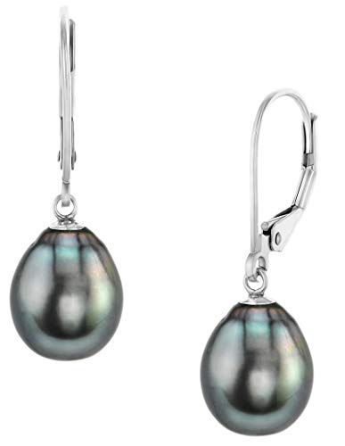 THE PEARL SOURCE 14K Gold AAA Quality Drop Black Tahitian South Sea Cultured Pearl Leverback Earrings for Women (white gold, 11.0-12.0)