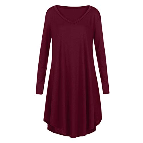 Goodtrade8 Homecoming Dresses, Women V-Neck Long Sleeve Party Evening Casual Ruffle Loose Mini Dress (M, Wine Red)