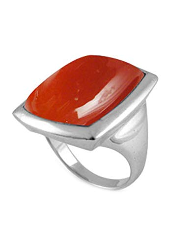 BillyTheTree Gemstone Jewelry Sterling Silver Ring with Baguette Carnelian Stone (BTS-NRB6625/CAR/R) - Size 12