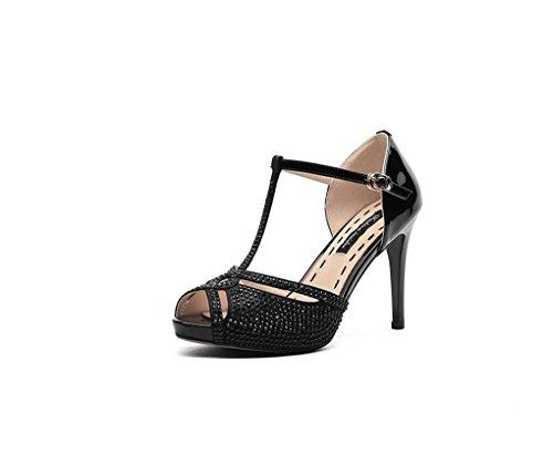 HJHY Sexy Sandalias, Sandalias de Cuero de Europa y América de la Moda Rhinestone Zapatos de Tacón Alto Boca de Pescado Zapatos de Mujer Sandalias con Punta Abierta (Color : Negro, Tamaño : 36)