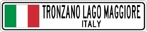 ONZANO LAGO MAGGIORE, ITALY - Italy Flag City Sign - 3x18 Inches Aluminum Metal Sign ()