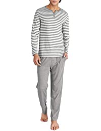 Mens Cotton Heather Striped Sleepwear Long Sleeve Top & Bottom Pajama Set