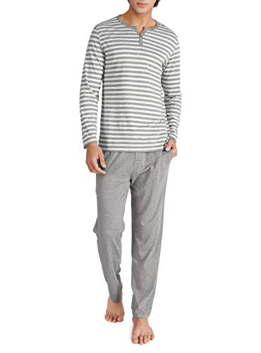 David Archy Men's Cotton Heather Striped Sleepwear Long Sleeve Top & Bottom Pajama Set (Heather Dark Gray, M)