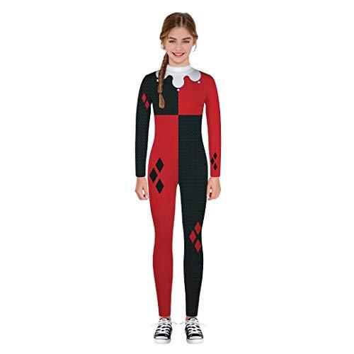 Tsyllyp Girls Harley Quinn Halloween Cosplay Costume 3D Print Jumpsuit Bodysuit