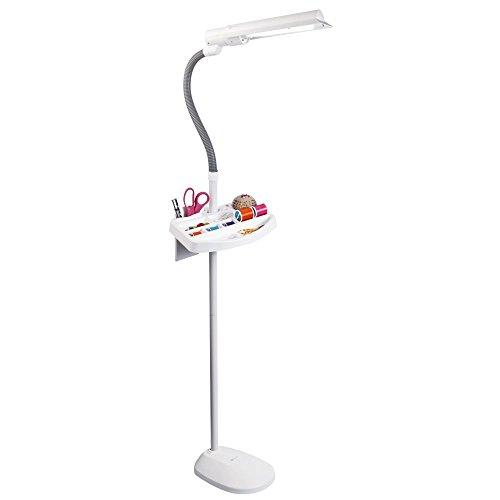 OttLite 18 Watt Wing Shade Floor Lamp | Reading Lamp, Task Lamp, Craft Lamp | Flexible Neck, Weighted Base, Craft Organizer Tray | Office, Home, Workshop