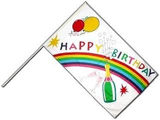 Digni Grand drapeau Happy Birthday sur hampe 60 x 90 cm sticker gratuit
