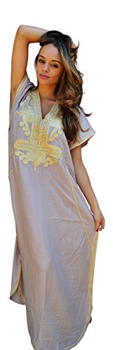 Women New Handmade Ladies Kaftan Resort Wear Cover-up Fashion Beige with Gold Marrakech Cotton Caftan