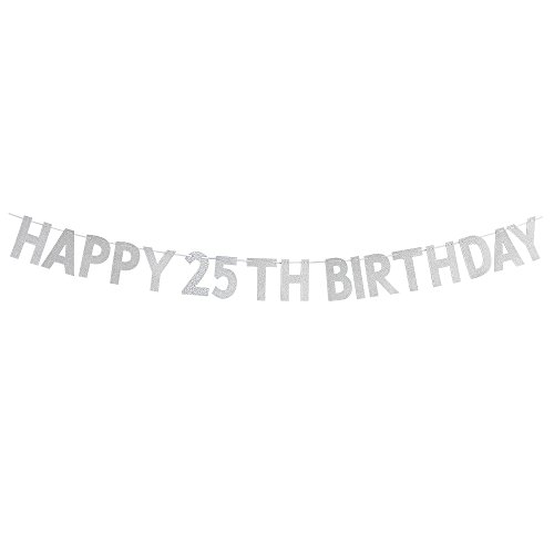 Happy 25th Birthday Banner - Cheers to 25 Years Birthday Anniversary Party Decorations - Silver]()