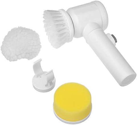 掃除用品 1多機能電気クリーニングブラシ浴室の窓クリーナースクラバーシャワースキージで5 家庭用 (Color : White, Size : 200x110x75mm)
